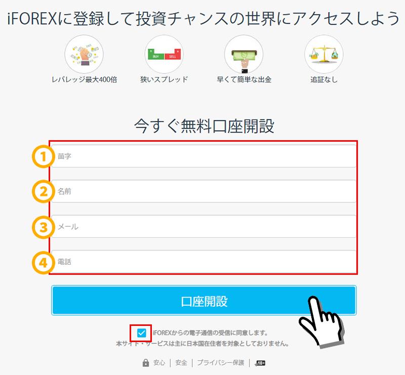 iFOREX口座開設方法